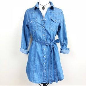 CHIQLE | Denim Western Belted Shirt Dress | S